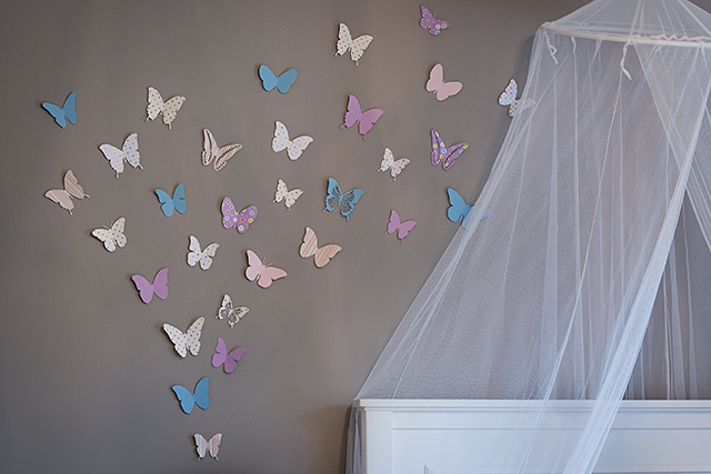 Making rooms butterfly accent wall circus berry for How to make paper butterflies for wall