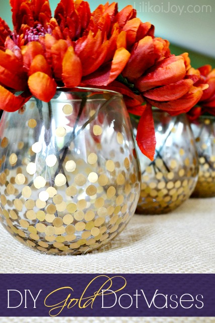 gold dot vases