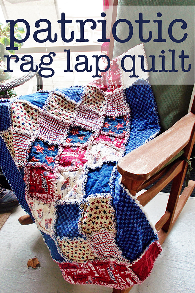 Patriotic Rag Lap Quilt Circus Berry